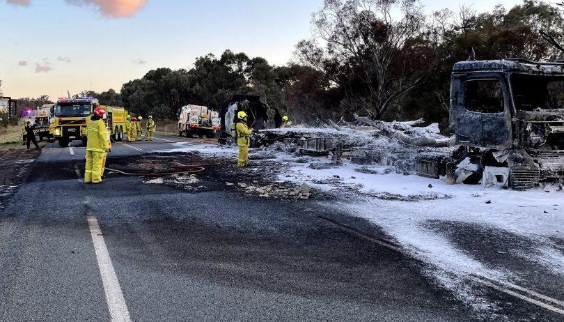 Burnt out fuel tanker