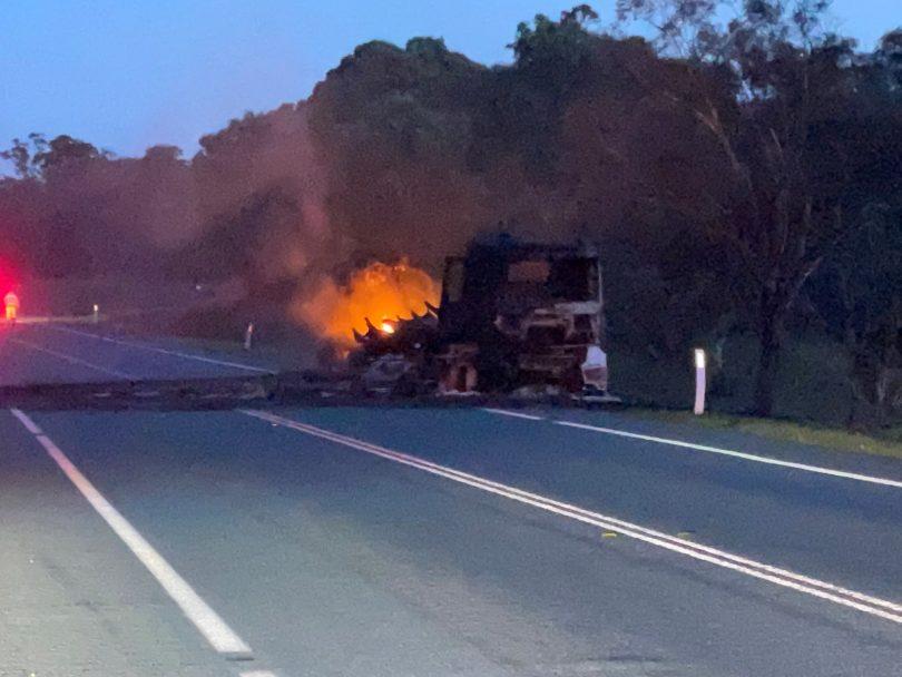Truck fire on the Monaro Highway