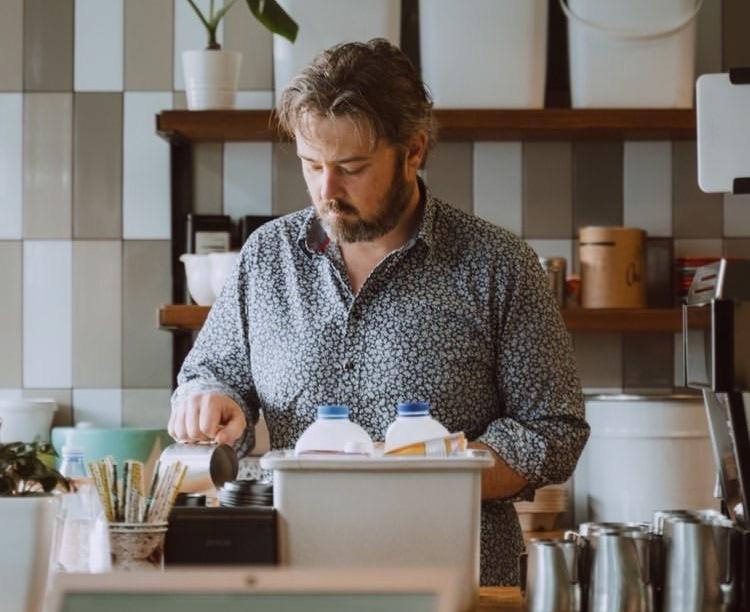 Ryan Jennings making coffee