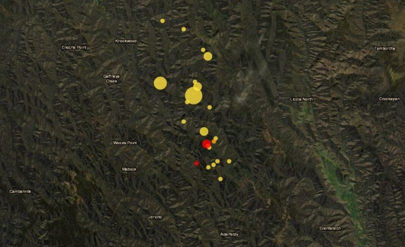 Victoria earthquake location map