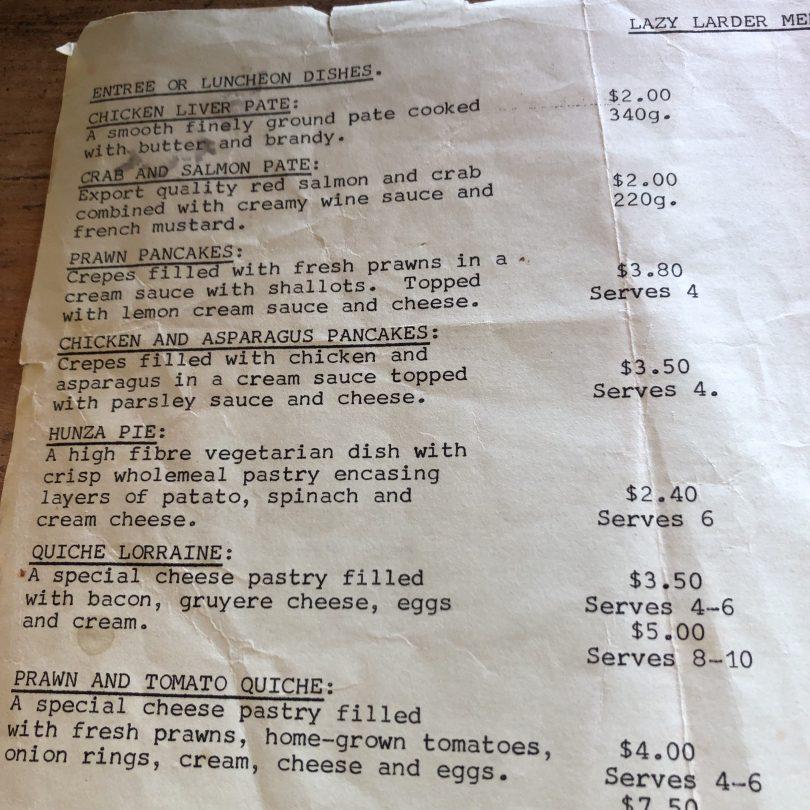 Typed Lazy Larder menu