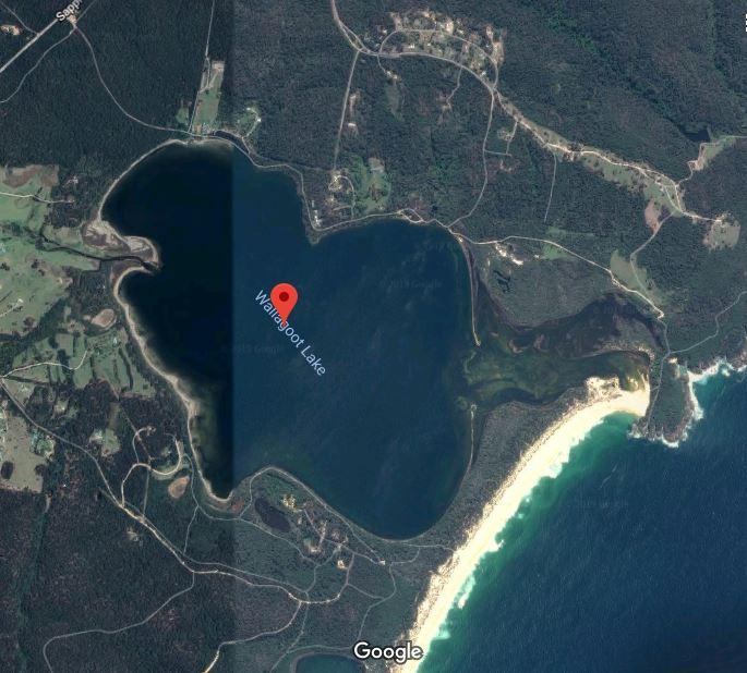 Wallagoot Lake between Tathra and Merimbula was last open to the sea in 2016. Photo: Google Maps.