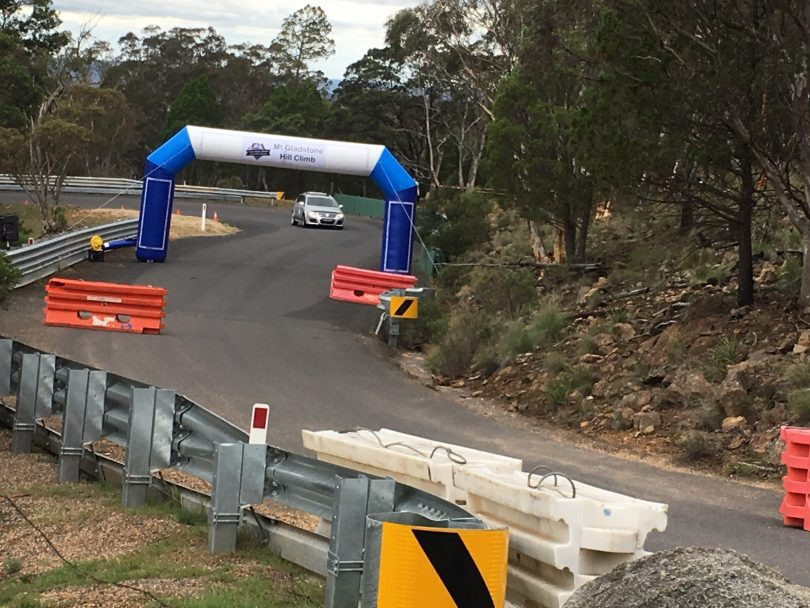 Ben Hastings in his VW Passatt R36 approaches finish line. Photo: Supplied.