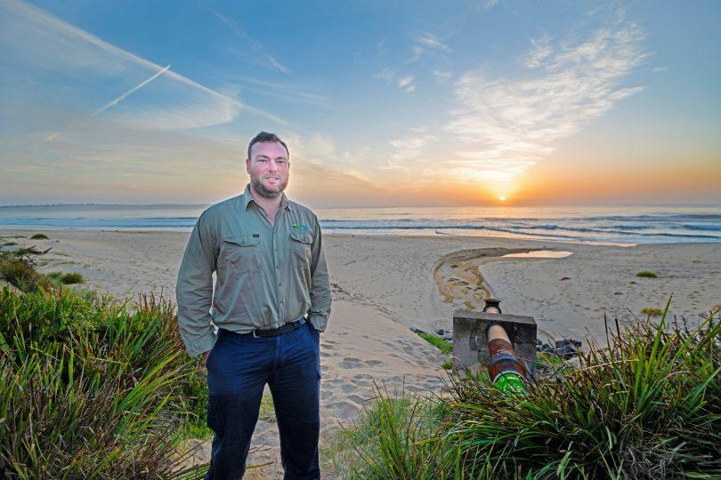 Bega Valley Shire Council's Treatment Plant Coordinator, Jason Darcy, at the Merimbula beach-face outfall. Photo: BVSC.