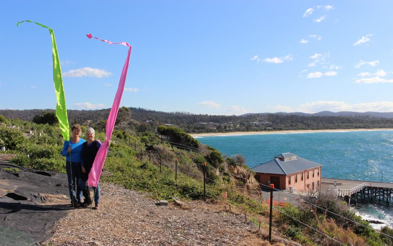 Look for the green and pink flags for Tathra's Aug 25 open garden day, Pip Marshmen and Chris Hamilton. Photo: Ian Campbell.