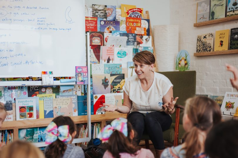 Children's book author Ailsa Wild bringing her characters to life at a Melbourne reading. Photo: Supplied.