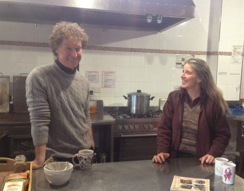 Dean and Nettie at The Crossing's commercial kitchen. Nettie plans all the menu's and shops for the school groups, then the young people do the cooking. Photo: Elka Wood.