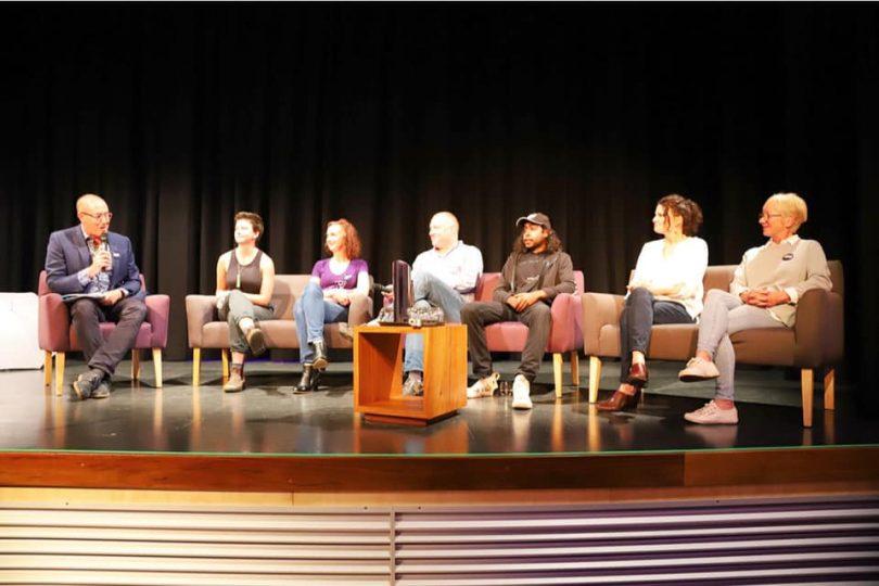 Facilitator Ian Campbell, with Hannah Doole, Kate Toyer, Darren Jones, Warren Foster Jr, Erica Dibden and Louise Brand