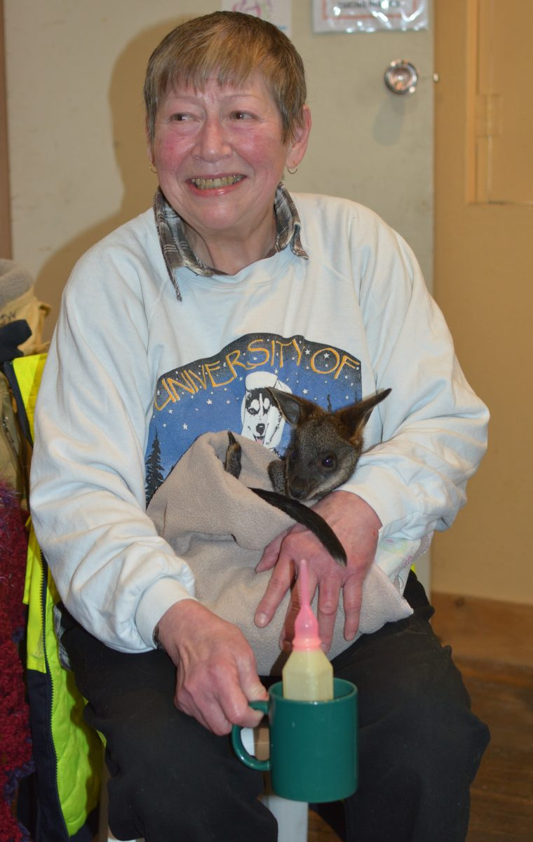 Linda Milne with a special little friend
