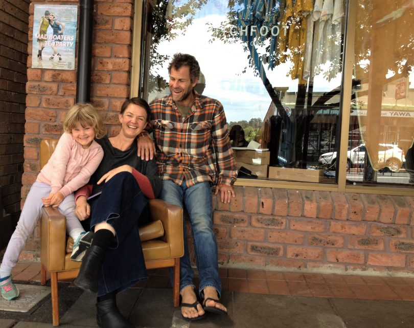 Florence, Patricia and Jed outside their Pambula business, Switchfoot Boardstore. Photo: Elka Wood.