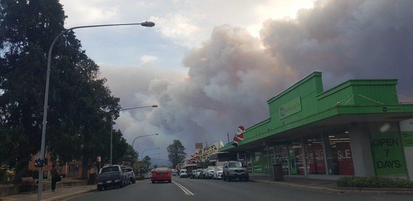 Moruya's main street with bushfire smoke in background