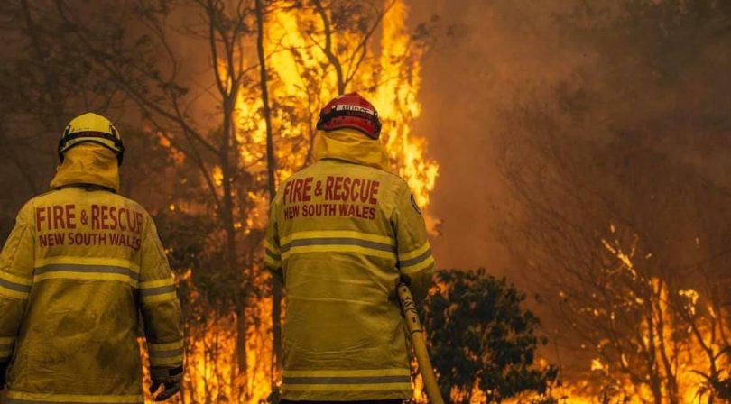 NSW Rural Fire Service firefighters battling bushfire