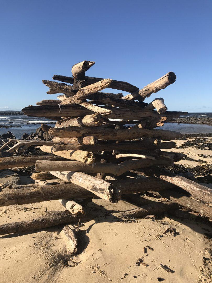 Beach debris sculptures