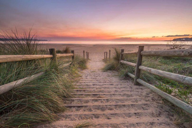 Deserted Tathra beach.