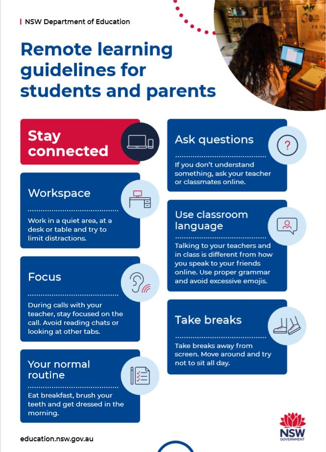 NSW Department of Education remote learning guidelines list.
