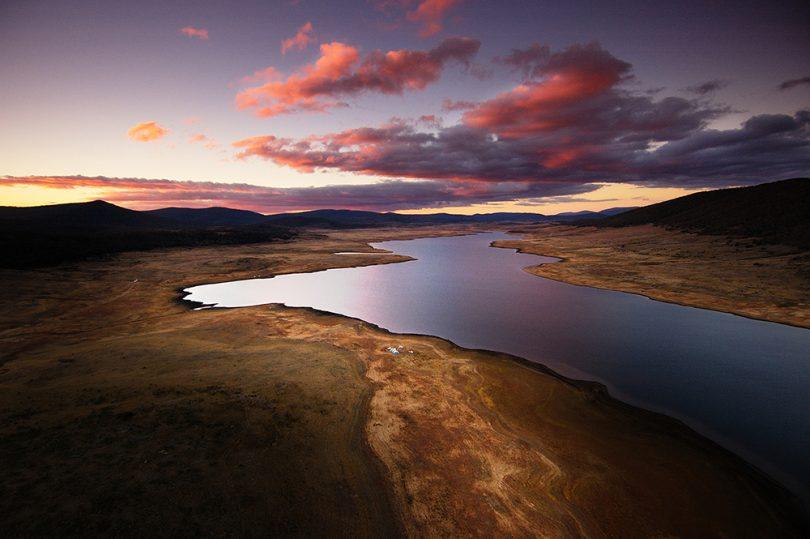 Aerial view of Tantangara Dam.