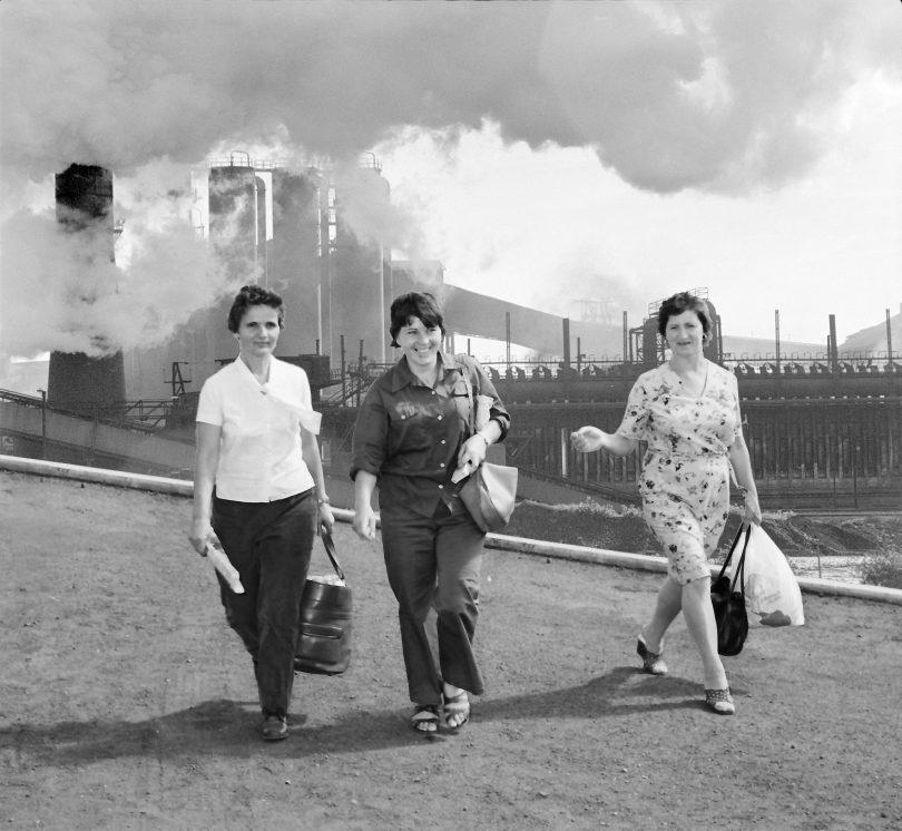 From left: Wollongong steelworkers Roza Klujaricek, Slobodanka Joncevska and Fotini Voulgaris_leaving work at Port Kembla steelworks.