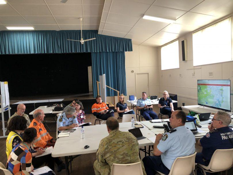 Meeting at Eurobodalla's emergency operations centre during 2019-2020 Black Summer bushfires.