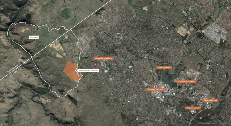 Aeriel overlay map of Ginninderry development site.