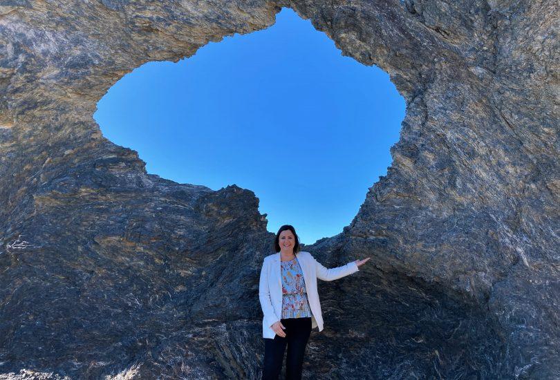Kristy McBain standing at Australia Rock in Narooma.