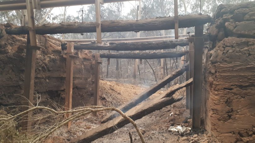 View from beneath Pidgeon Gully Bridge, destroyed by bushfire.