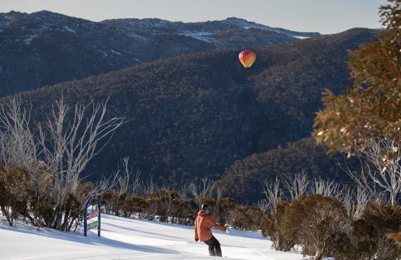 Hot air balloon soaring above Thredbo resort.