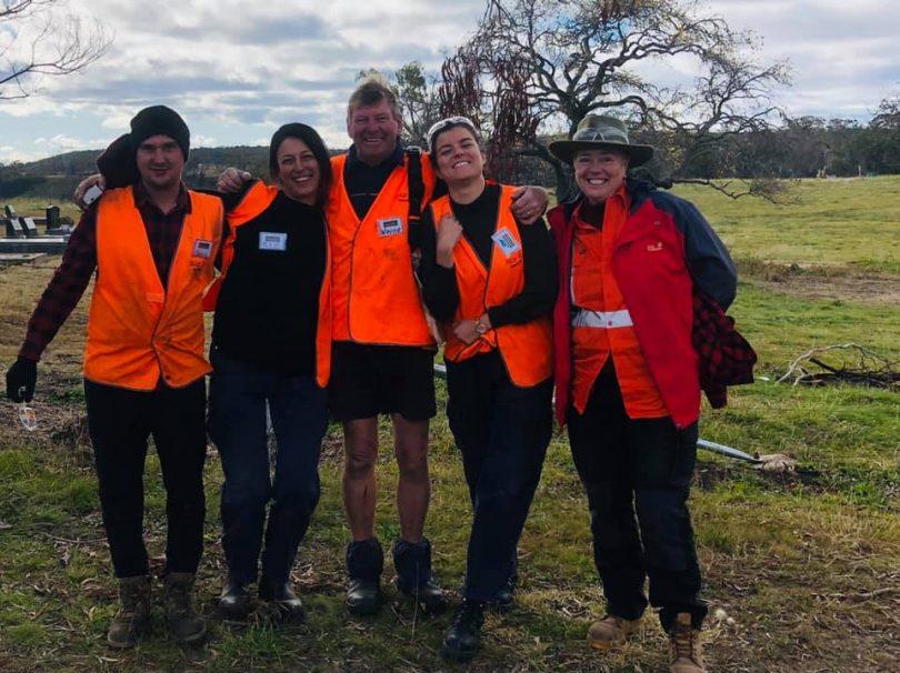 A BlazeAid team of volunteers from Braidwood.