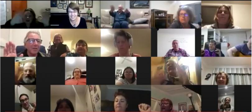Screenshot of Bridge to Sing Choir session on Zoom.