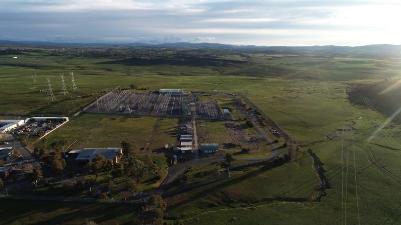 Aerial view of TransGrid substation in Yass.