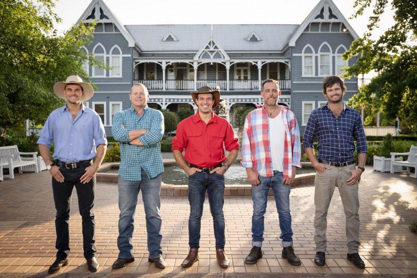 From left: Farmer Alex, farmer Neil, farmer Sam, farmer Nick and farmer Harry.