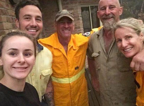 Author Kim Treasure with family during Black Summer bushfires.