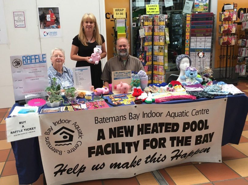 From left: Dee Jones, Carolyn Harding and Rodney Weber at a stall to raise money for Batemans Bay Indoor Aquatic Centre.