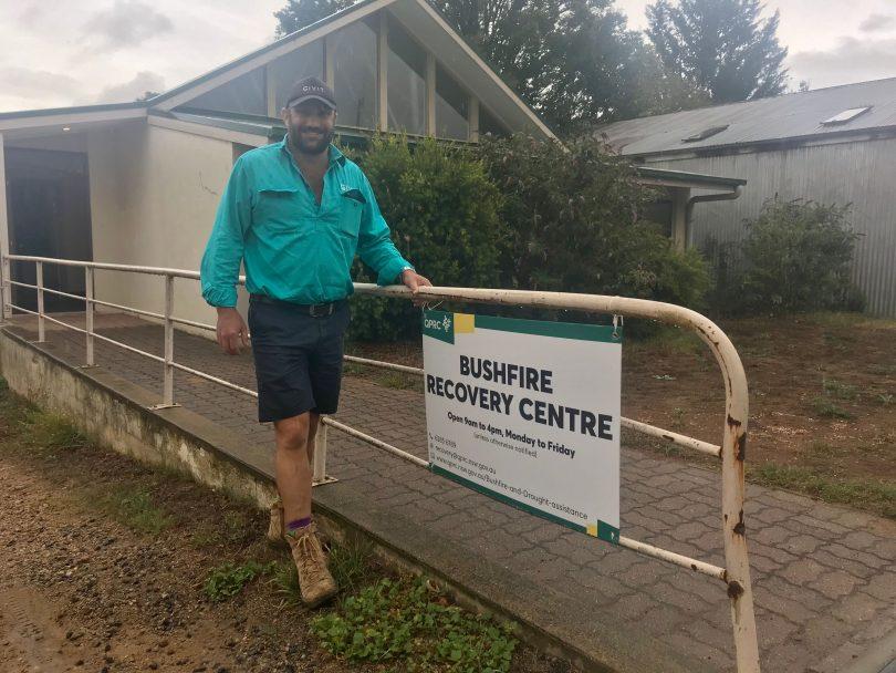 Scott Barrett outside Braidwood's Bushfire Recovery Centre.