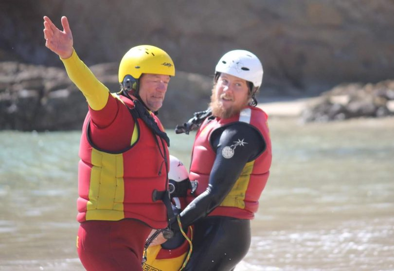 Surf lifesavers Andrew Curven and Harley Dengate in action.