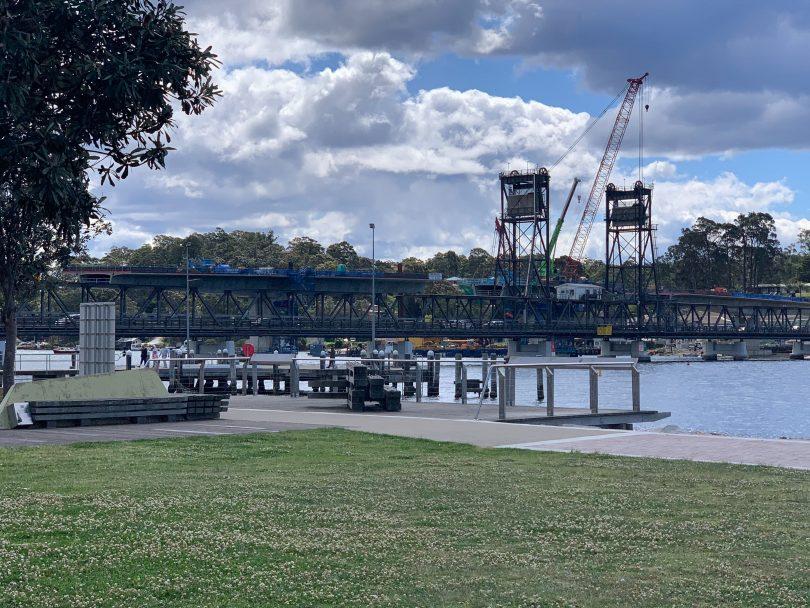 Work on the new Batemans Bay Bridge.