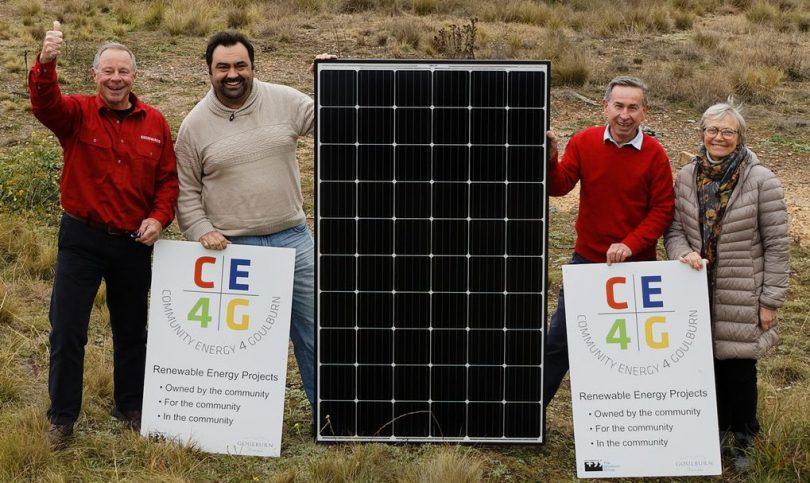 Community Energy 4 Goulburn committee members on the Goulburn Solar Farm site.