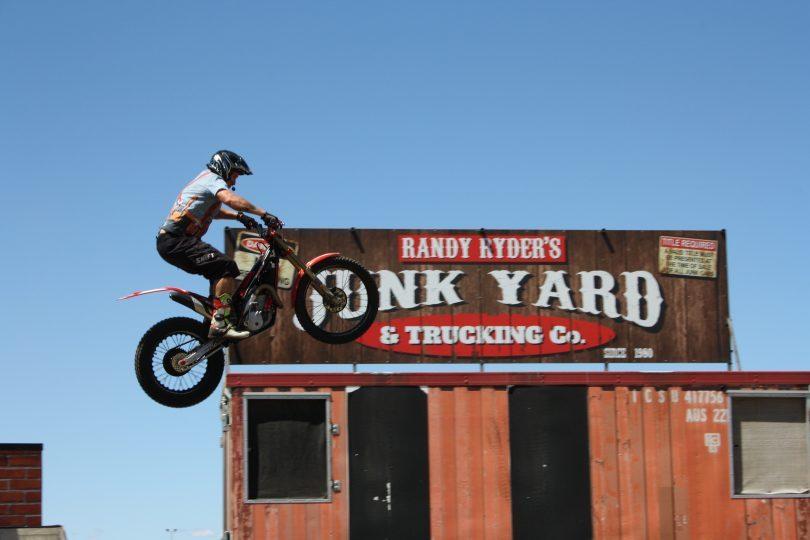 Stunt motorbike rider Randy Ryder at Goulburn Show.