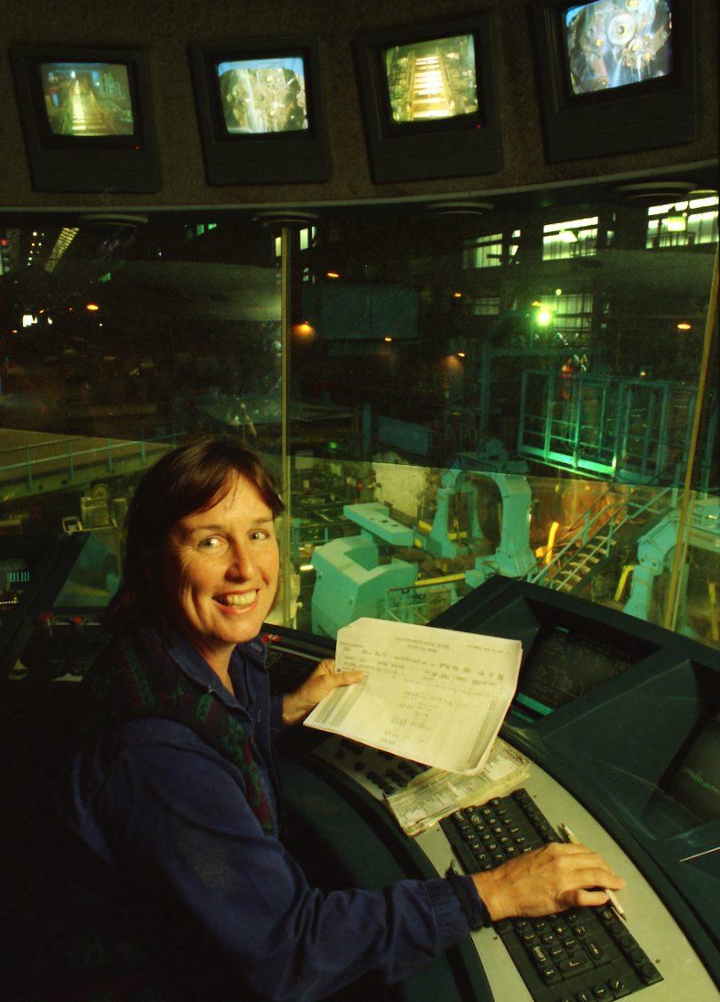Robynne Murphy working in steelworks.