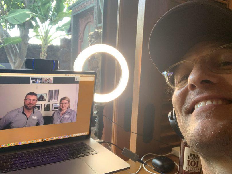 Selfie of Matthew McConaughey with Matt and Linda Rudd on Zoom call.