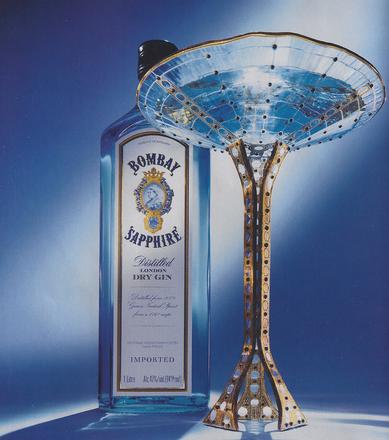 Bombay Sapphire martini glass designed by Peter Crisp.