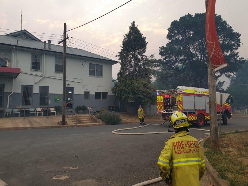 Fire crew outside Batlow Hotel.