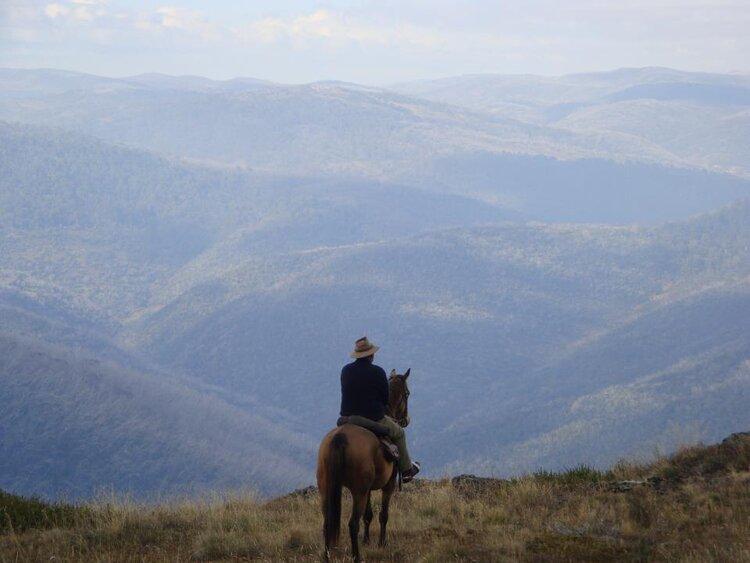 Peter Cochran on horseback looking over Kosciuszko National Park.
