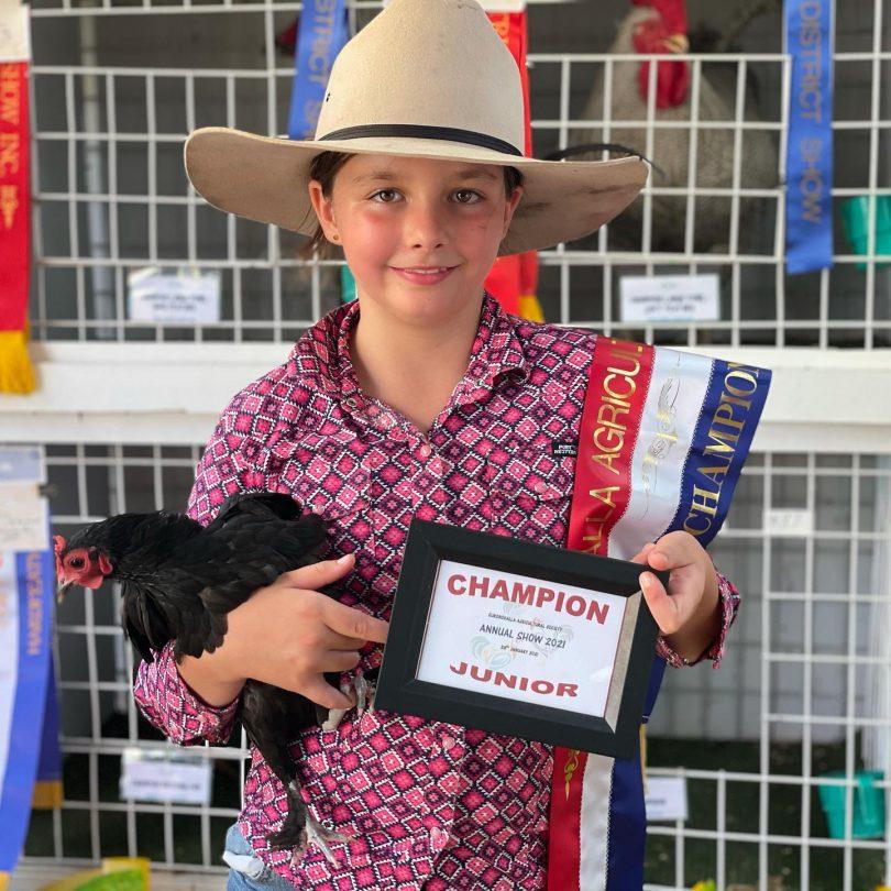 Eurobodalla Agricultural Show poultry pavillion junior champion Sophie Nobel.