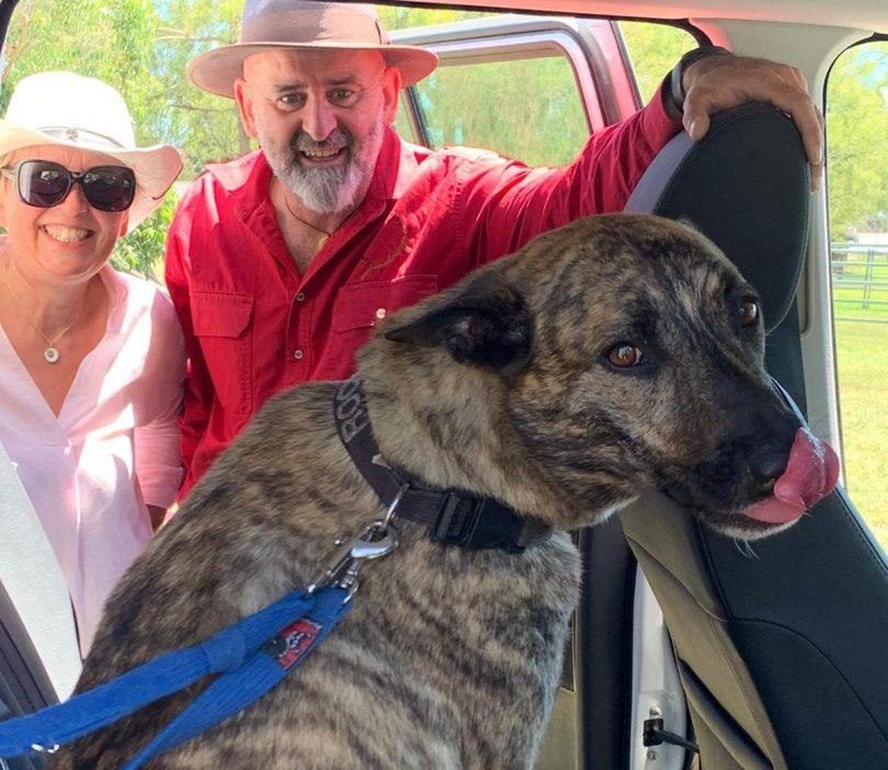 Truffle grower Olivier Kapetanakos with his partner and dog.