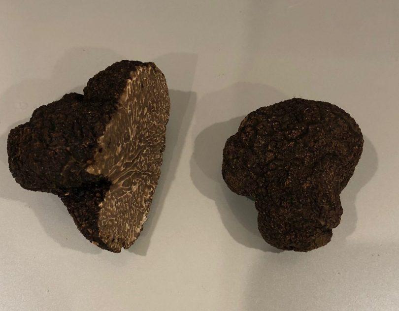 Two truffles, one cut in half.