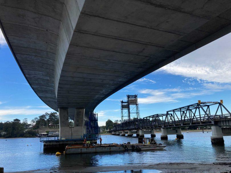 Batemans Bay's new and old bridges
