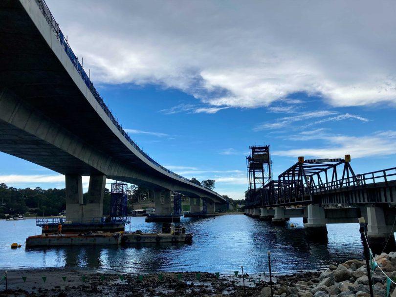 Batemans Bay's new and old bridges over Clyde River