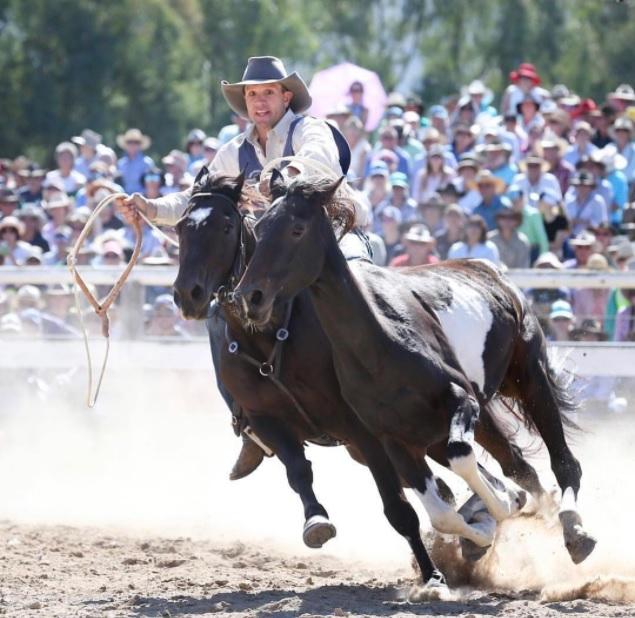 Kieran Davidson competing on horseback in Man From Snowy River Challenge.