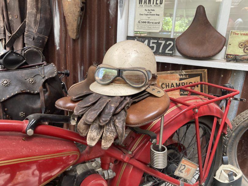 Motorbike memorabilia at Fuel East Lynne.