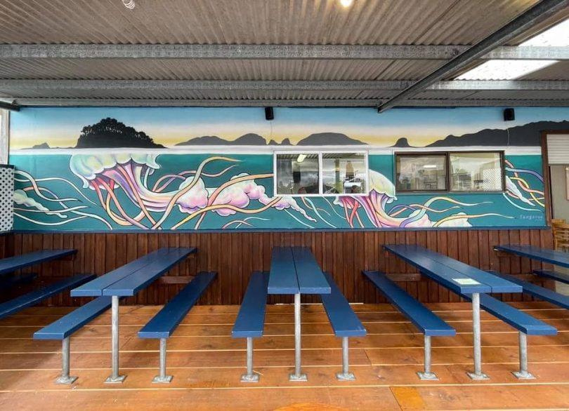 Tables outside The Boatshed in Batemans Bay.